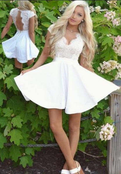 White Cap Sleeves Lace Backless Homecoming Dress