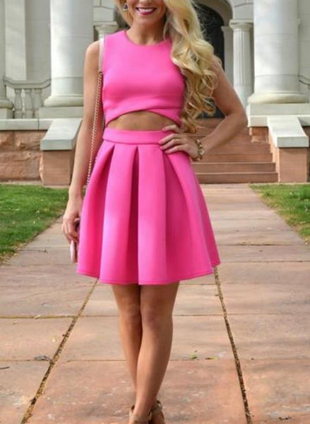 Short Homecoming Dress, Two Piece Hot Pink Homecoming Dresses