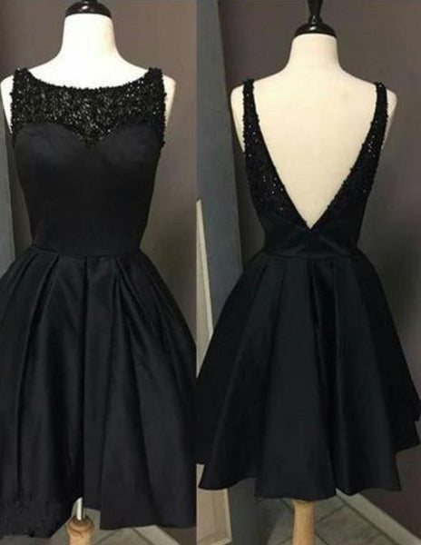 Homecoming Dress, Black Open Back Beaded Homecoming Dress