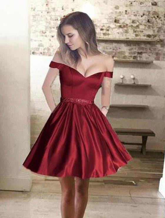 Beading Short Burgundy Homecoming Dress, Off the shoulder Prom Dress