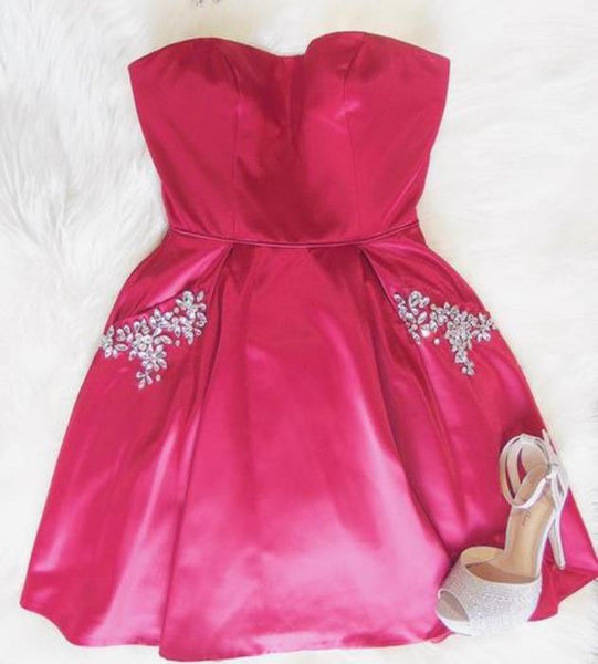 Beaded Cute Sweetheart Pink Homecoming Dress
