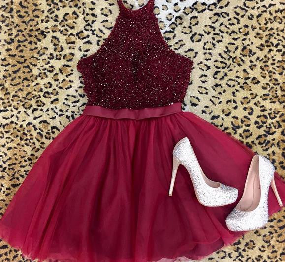 Short Cute Beading Homecoming Dress, Halter Red Prom Dress