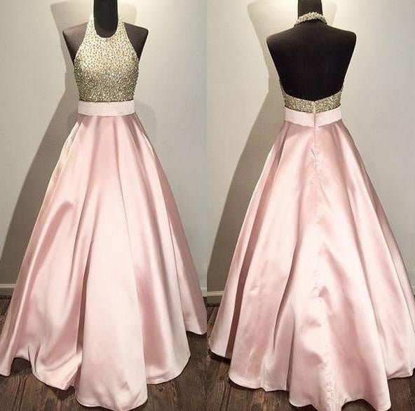 Pink Homehoming Dress, Backless Halter Beadings Homehoming Dress