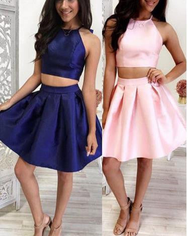 Pink Two Pieces Hater Homehoming Dress, Strapless Homehoming Dress