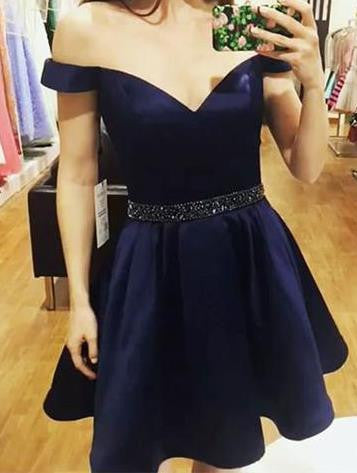 Beadings Off Shoulder Homehoming Dress, Navy Blue Homehoming Dress