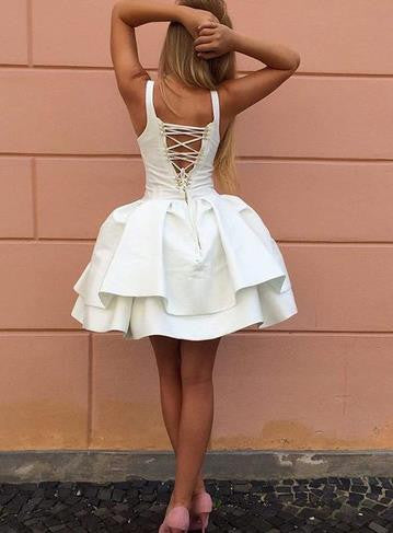 White Short Homecoming Dress, Sexy Sweetheart Homecoming Dress