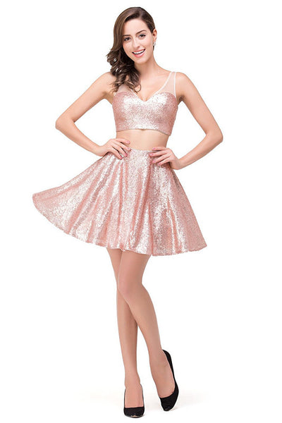 Two Pieces Homecoming Dress, Pink Sequins Short Homecoming Dress
