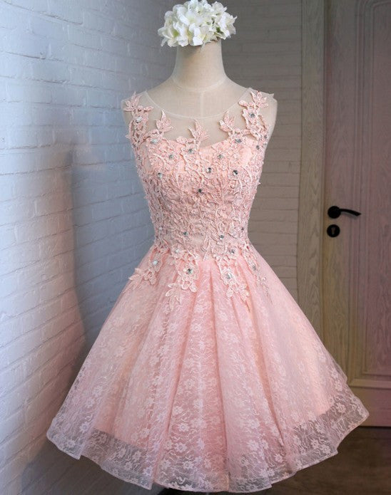 Elegant Short Appique Beading Homecoming Dress, Baby Pink Prom Dress