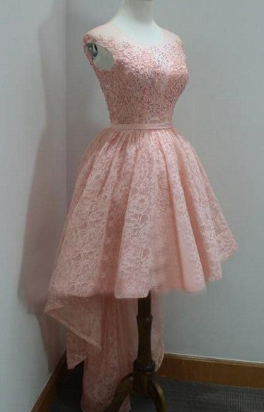 Beading Homecoming Dress, Lace Pink High Low Homecoming Dresses