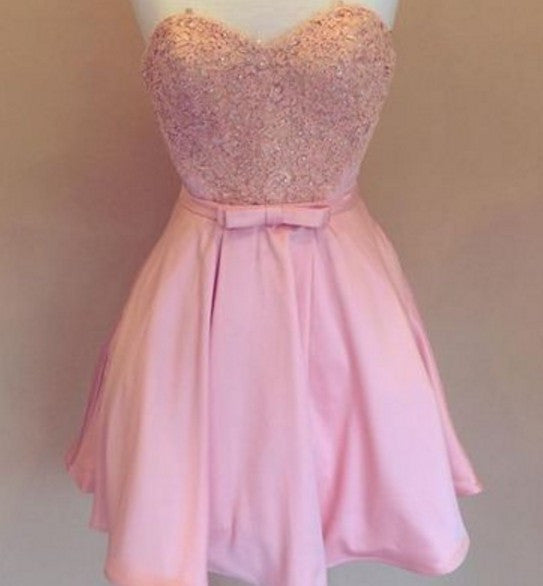 Belt Lovely Pink Bowknot Beading Homecoming Dresses