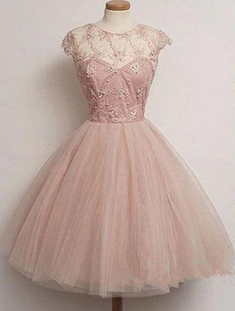 Light Pink Round Neck Beading Homecoming Dress, Tulle Short Dress