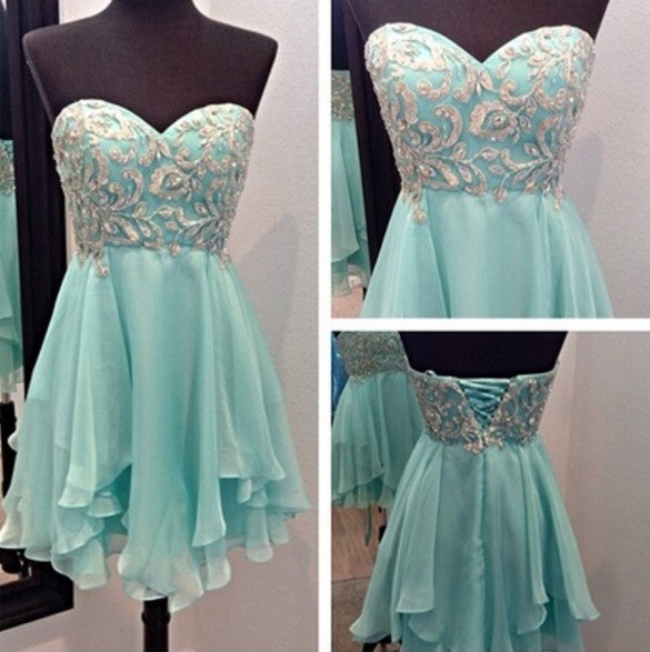 Sweetheart Mint Homecoming Dress with Sparkle Appliques