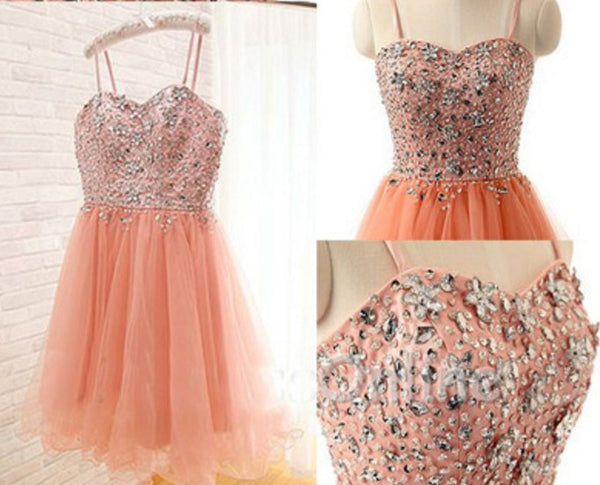 Crytal Sweet Homecoming Dress, Orange Tulle Short Prom Dress