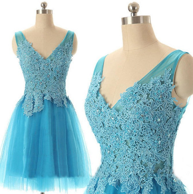 Baby Blue V-neck Homecoming Dress with Appliques