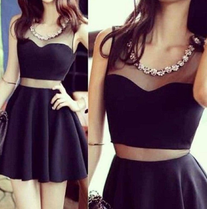 Black Two Piece Sexy Homecoming Dress wiht Crystal