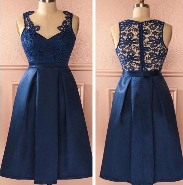 Lace V-neck Navy Blue Homecoming Dress, Short Prom Dresses