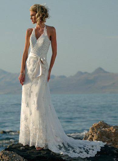 Custom Size Wedding Bridal Dress, Lace Over Tulle Halter Beach Wedding Dress with Ribbon Sash