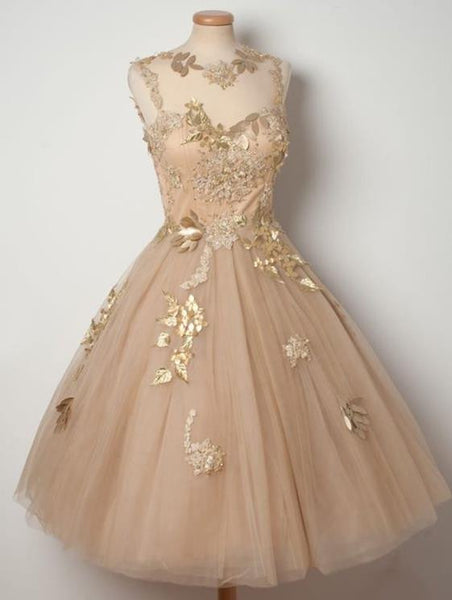 Champagne Tulle Homecoming Dresses with Appliques, Short Prom Dress