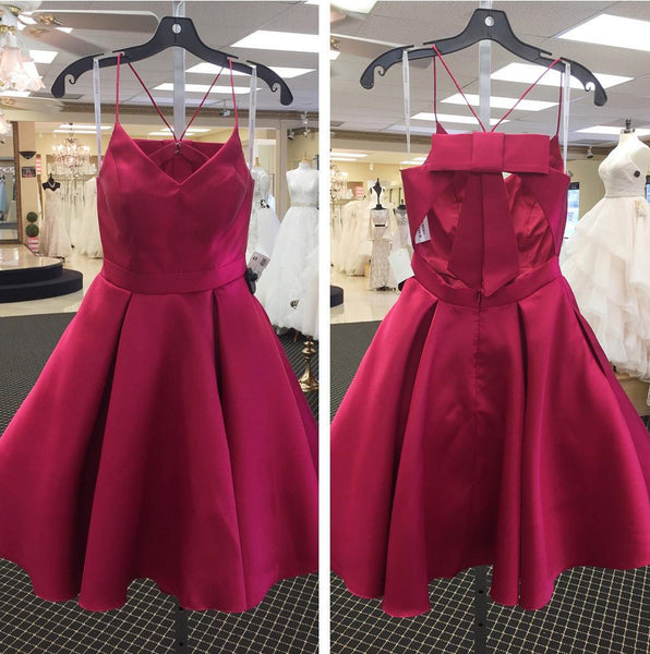 Bow Back Homecoming Dress, Cute Short Burgundy Prom Dresses