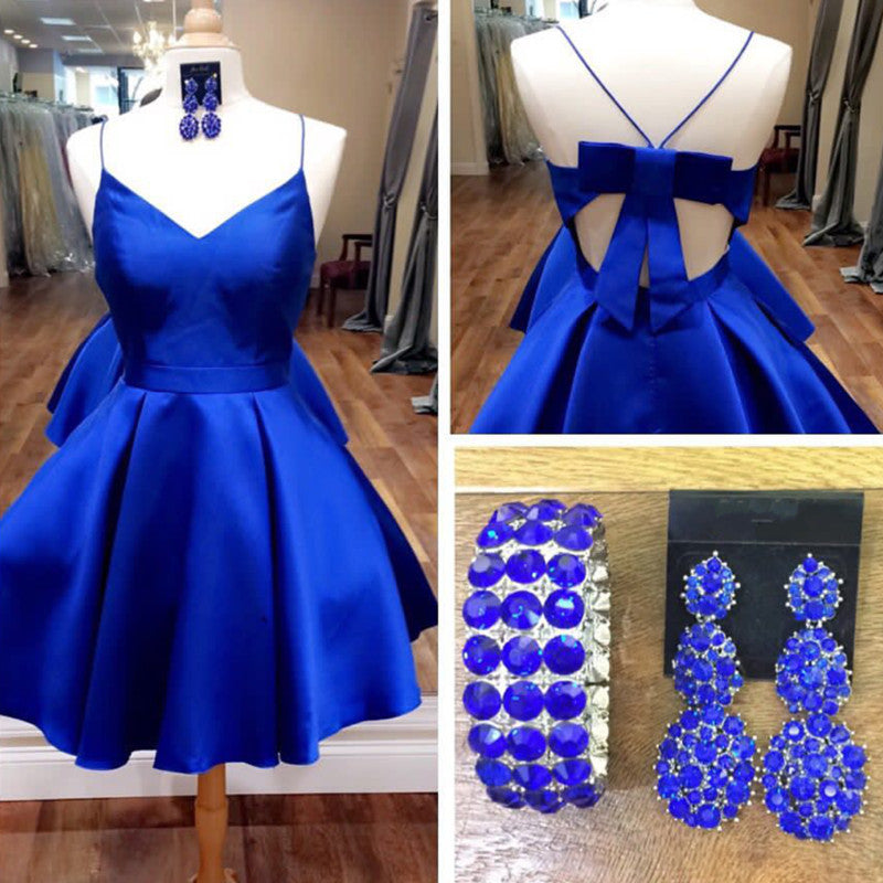 Bow Back Royal Blue Homecoming Dress, Short Cute Prom Dresses