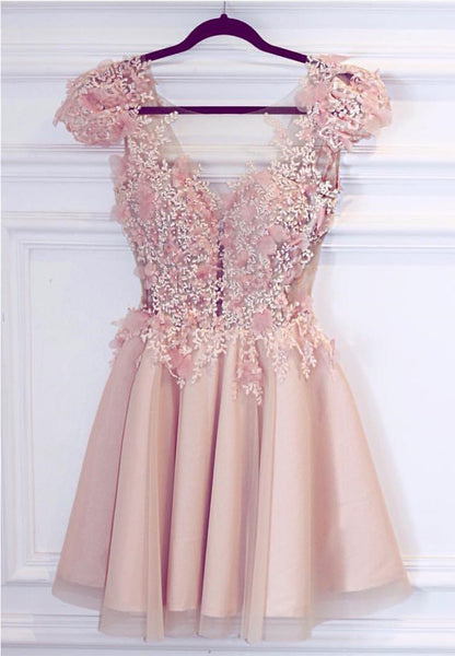 Appliques Homecoming Dress, Pink Cute Short Prom Dress