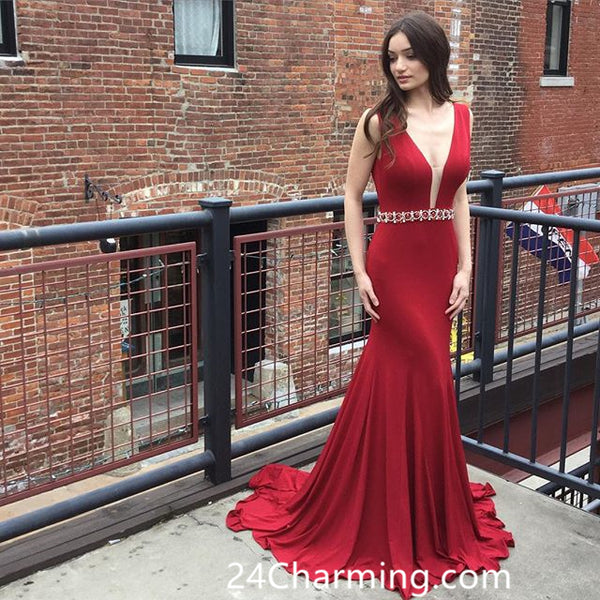 Red Deep V Neckline Prom Dresses, Mermaid Pageant Dress