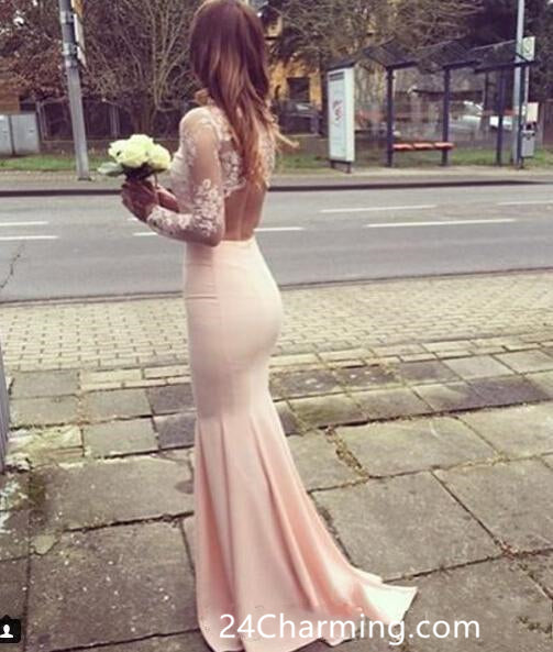 Elegant High Neck Pink Lace Prom Dress Open Back Pageant Dress