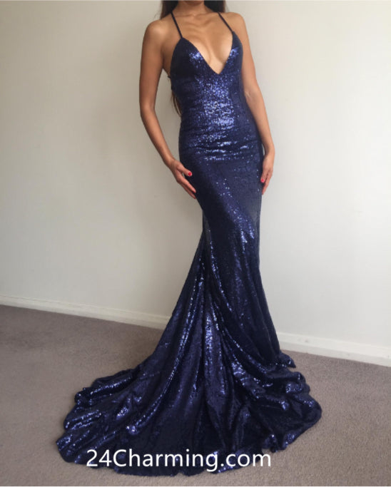 Navy Blue Sequined Prom Dress Backless Pageant Dress