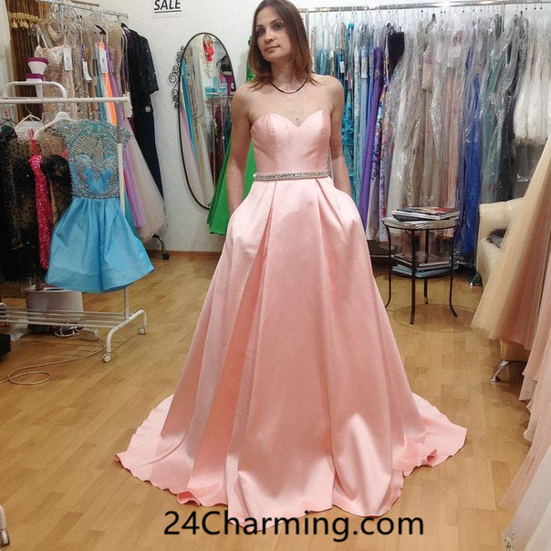 A Line Pink Sweetheart Prom Dress Formal Pageant Dresses