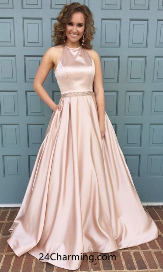 A Line Halter Prom Dress, Pink Pageant Dresses