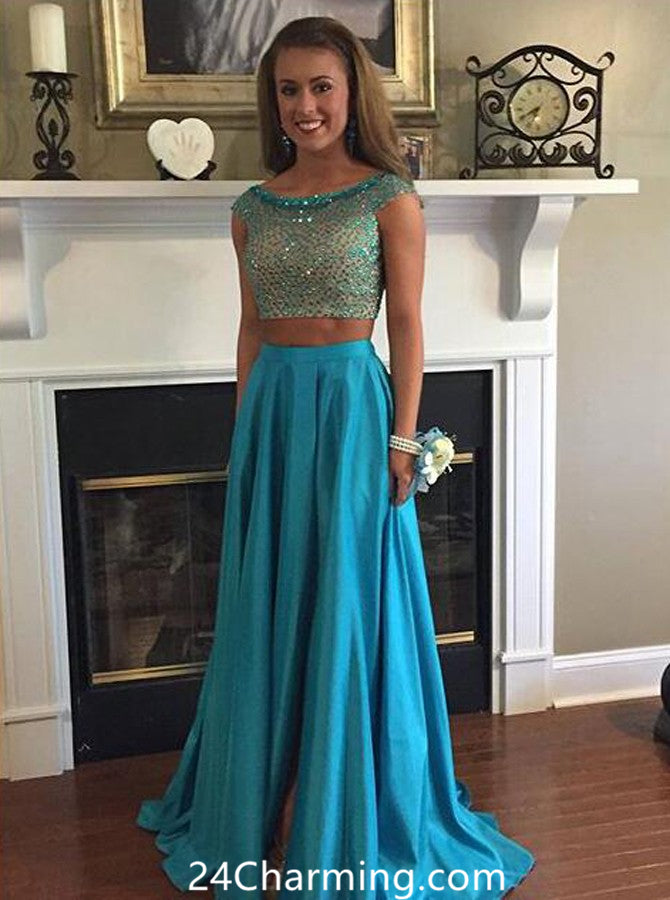 Elegant Two Piece Pageant Dress Beading Long Prom Dresses
