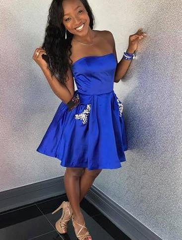 Short Royal Blue Strapless Homecoming Dress with Pockets