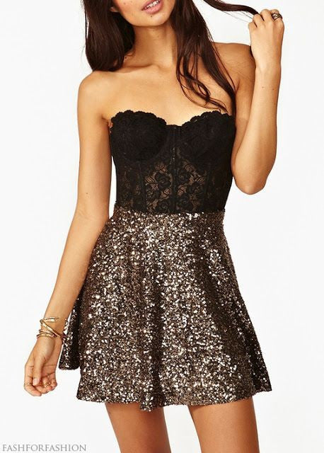Sequins Black Homecoming Dress, Lace Homecoming Dress