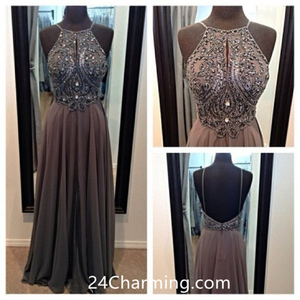 Chiffon High Neckline Embellished Bodice Prom Dress Gown Low Back Pageant Dress