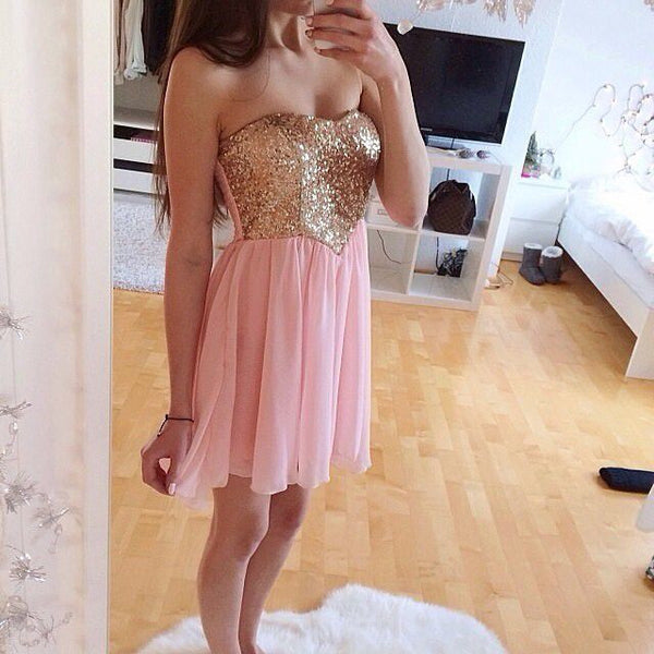Handmade A-Line Pink Homecoming Dress,Gold Sequins Homecoming Dress