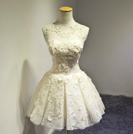 Sweet White Lace Flower Homecoming Dress,Sleevesless Mini Homecoming Dresses