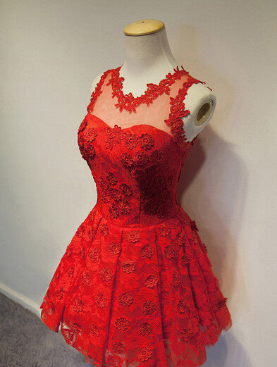Sweet Red Lace Flower Homecoming Dress,Sleevesless Mini Homecoming Dresses