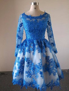 Royal Blue Lace Prom Dress,Knee Length Prom Dresses,Evening Dress