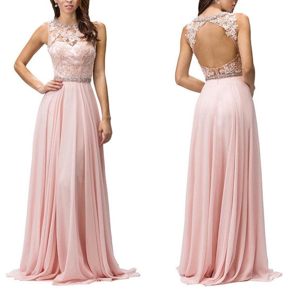 A-Line Pink Sleeveless Prom Dresses,Evening Dresses