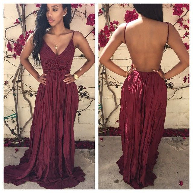 Burgundy Prom Dresses,Open Back Prom Dress