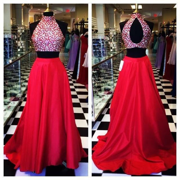 Two Piece Prom Dresses,Hot Pink Crystals Prom Dress,Evening Dresses