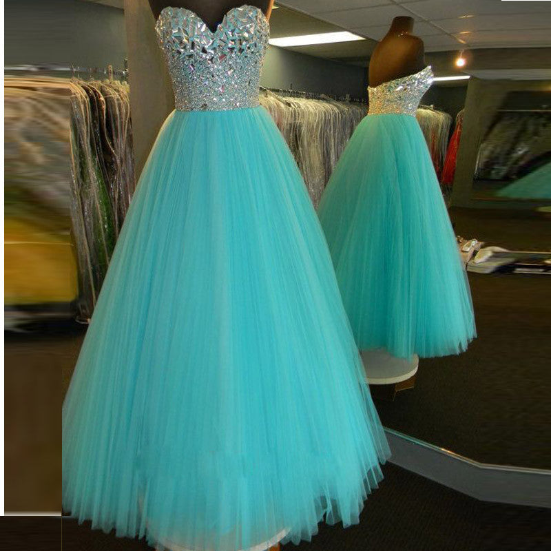 Beaded Crystals Prom Dresses,Blue A-Line Prom Dress