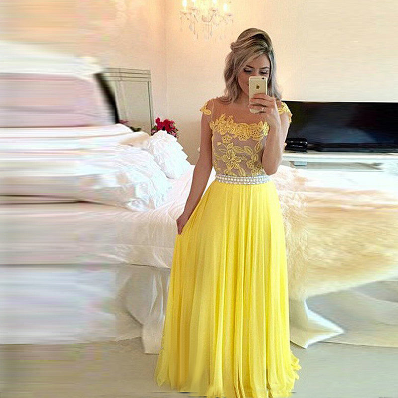Applique Yellow Prom Dresses,Lace Tulle Long Prom Dress