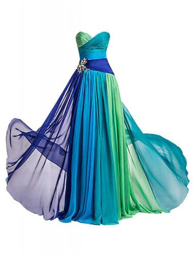Colorful Sweetheart A-Line Chiffon Prom Dresses