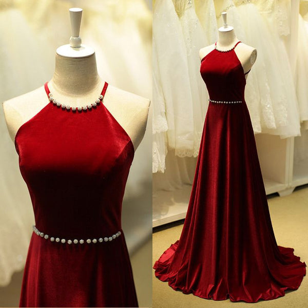Red Velvet Open Back Spaghetti Straps Prom Dresses