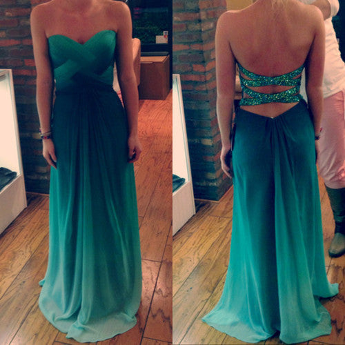 Strapless Sweetheart Green Sexy Prom Dresses