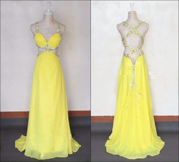 Criss Cross Sexy Floor Length Yellow Prom Dresses