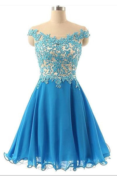 Blue Applique Prom Dresses,Short Chiffon Prom Dress,Evening Dresses