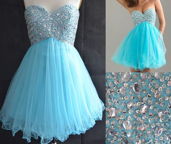 Blue Homecoming Dress,Tulle Homecoming Dresses,Short Prom Dress