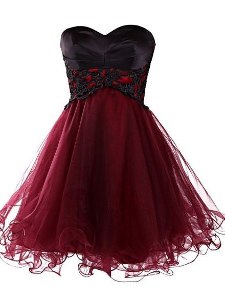 Burgundy Homecoming Dress,Tulle Homecoming Dresses,Short Homecoming Dress